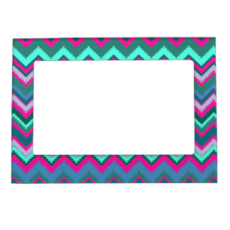 Pretty Aqua Teal Blue Pink Tribal Chevron Zig Zags Magnetic Picture Frame