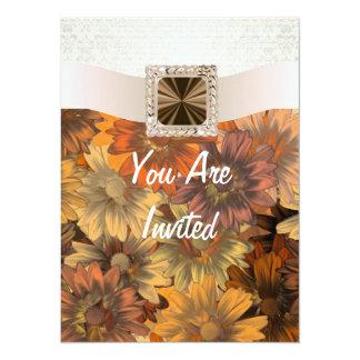 Pretty Autumn floral & cream damask 5.5x7.5 Paper Invitation Card