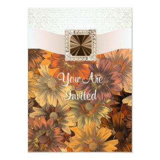 Pretty Autumn floral & cream damask 4.5x6.25 Paper Invitation Card