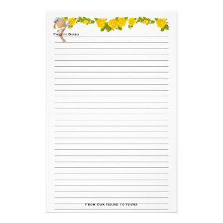 Pretty Bird & Yellow Roses Lined Stationery
