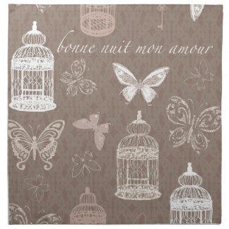 Pretty Birdcages & Butterflies Pattern Napkin