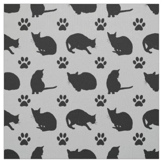 Pretty Black Cats and Paws Print Fabric