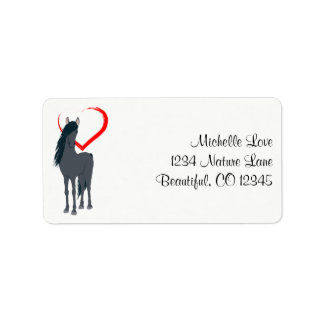 Pretty Black Horse and Red Heart Address Address Label