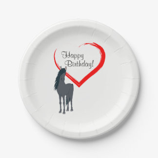 Pretty Black Horse and Red Heart Happy Birthday 7 Inch Paper Plate