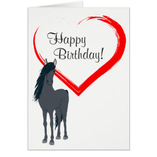 Pretty Black Horse and Red Heart Happy Birthday Card