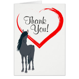 Pretty Black Horse and Red Heart Thank You Card
