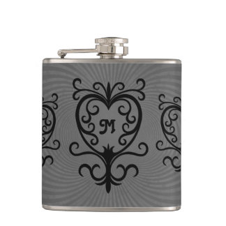 Pretty black swirled hearts on gray monogram hip flask