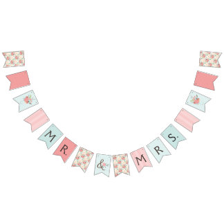 Pretty Blue and Coral Patterns Wedding Bunting Bunting