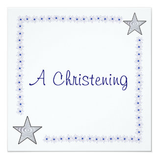 Pretty Blue and White Christening Invitations