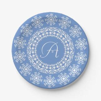 Pretty Blue and White Custom Monogram 7 Inch Paper Plate