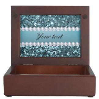 Pretty Blue Faux Glitter and Diamonds Keepsake Box
