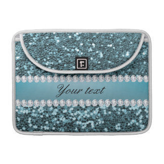 Pretty Blue Faux Glitter and Diamonds Sleeve For MacBook Pro