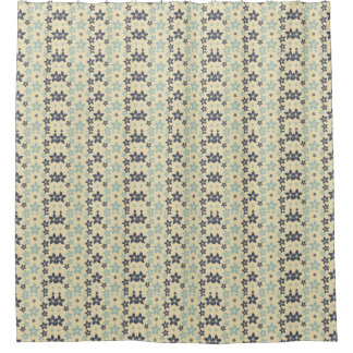 Pretty Blue Flowers on Cream Floral Shower Curtain