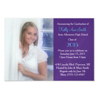 Pretty Blue & Purple Grad Party Invite & Photo