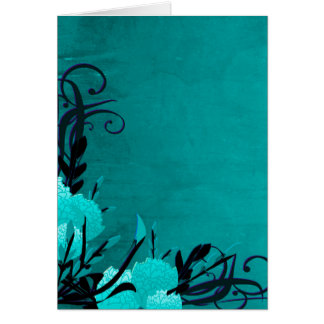Pretty Blue Rose Floral Vines Greeting Card