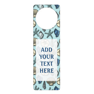 Pretty Blue Shell Starfish Sea Pattern Your Text Door Hanger