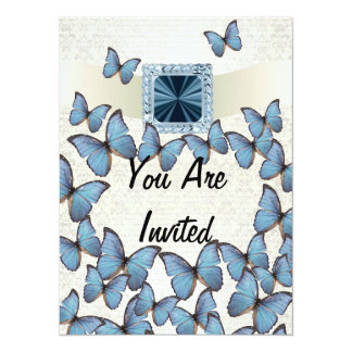 Pretty blue vintage butterfly collage 5.5x7.5 paper invitation card