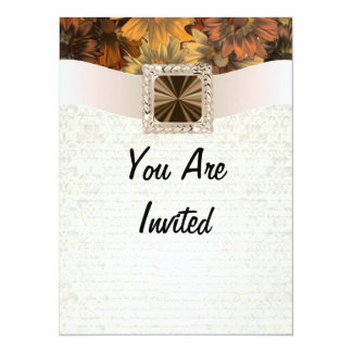Pretty brown floral daisy & vintage damask 5.5x7.5 paper invitation card