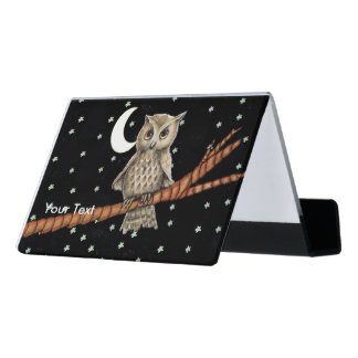 Pretty Brown Owl Golden Eyes Necklace Moon Stars Desk Business Card Holder
