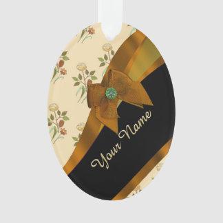 Pretty brown vintage floral flower pattern ornament