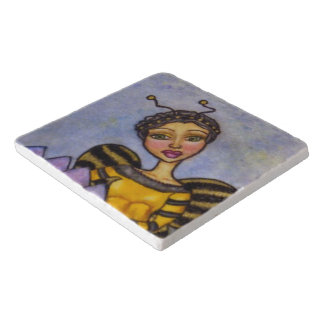 Pretty Bumble Bee Fairy Purple Flower Trivet