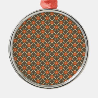 Pretty Burnt Orange and Brown Fall Pattern Gifts Silver-Colored Round Decoration