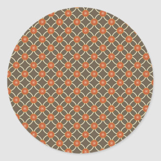 Pretty Burnt Orange and Brown Fall Pattern Gifts Round Sticker