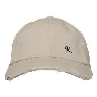 """Pretty Cap in Consumed Sarja Embroidered Letter """"K Embroidered Baseball Cap"""