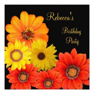 """Pretty Colorful Flowers Black White Yellow Orange 5.25"""" Square Invitation Card"""
