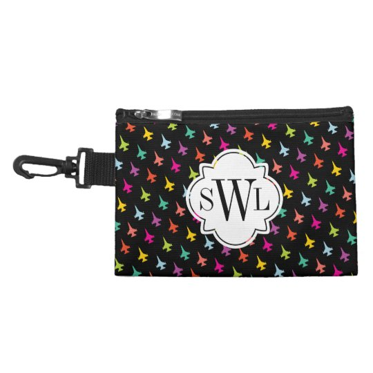 Pretty Colourful F-16 Pattern with Custom Monogram Accessory Bags
