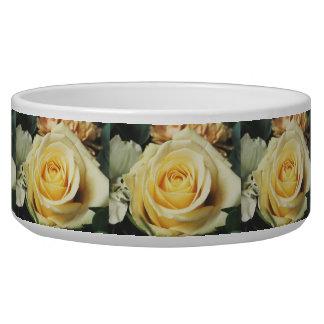 Pretty Cream Colored Rose Dog Food Bowls