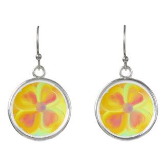 Pretty & Cute Bright Yellow Flower Drop Earrings