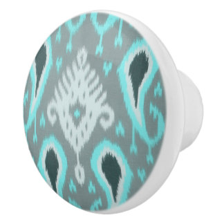 Pretty Cute Trendy Turquoise Ikat Tribal Pattern Ceramic Knob