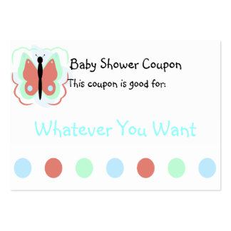 Pretty Cyan And Pink Butterfly Coupon Business Card Template