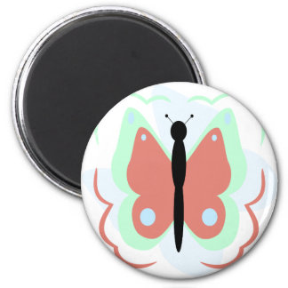 Pretty Cyan And Pink Butterfly Magnet