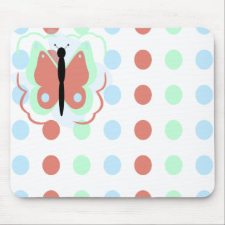 Pretty Cyan And Pink Butterfly Mousepad