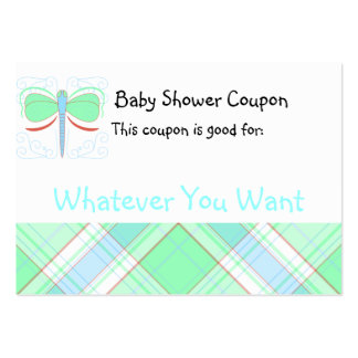 Pretty Cyan And Pink Dragonfly Baby Shower Coupon Business Card Template