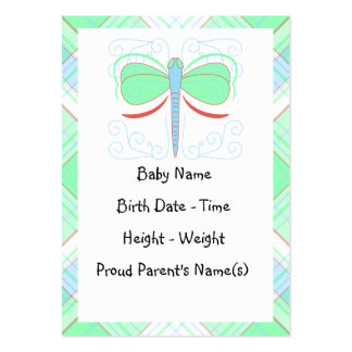 Pretty Cyan And Pink Dragonfly Birth Announcement Business Card Templates