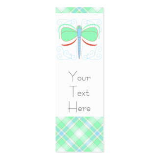 Pretty Cyan And Pink Dragonfly Bookmark Business Card