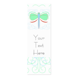 Pretty Cyan And Pink Dragonfly Bookmark Business Card Template