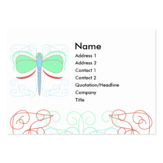 Pretty Cyan And Pink Dragonfly Business Card