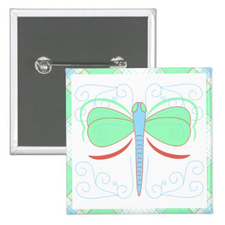 Pretty Cyan And Pink Dragonfly Button