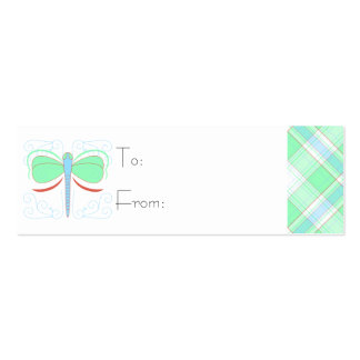 Pretty Cyan And Pink Dragonfly Gift Tag Business Card
