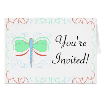 Pretty Cyan And Pink Dragonfly Invitation Cards