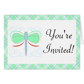 Pretty Cyan And Pink Dragonfly Invitation Card