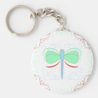 Pretty Cyan And Pink Dragonfly Keychain