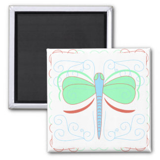 Pretty Cyan And Pink Dragonfly Magnet