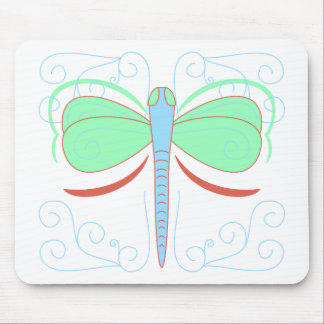 Pretty Cyan And Pink Dragonfly Mousepad