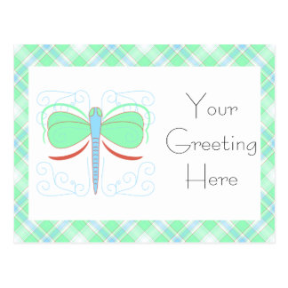 Pretty Cyan And Pink Dragonfly Postcard