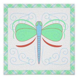 Pretty Cyan And Pink Dragonfly Poster